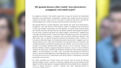 ERC Igualada exigeix més diàleg i treball conjunt a Marc Castells